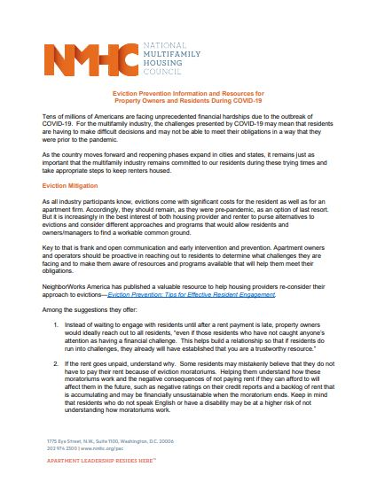 Document explaning techniques for eviction prevention and resources for property owners and residents