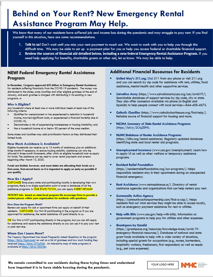 Template for property managers to share with residents regarding getting rental assistance